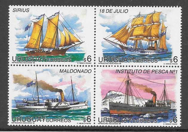 Sellos naves antiguas de Uruguay 1998