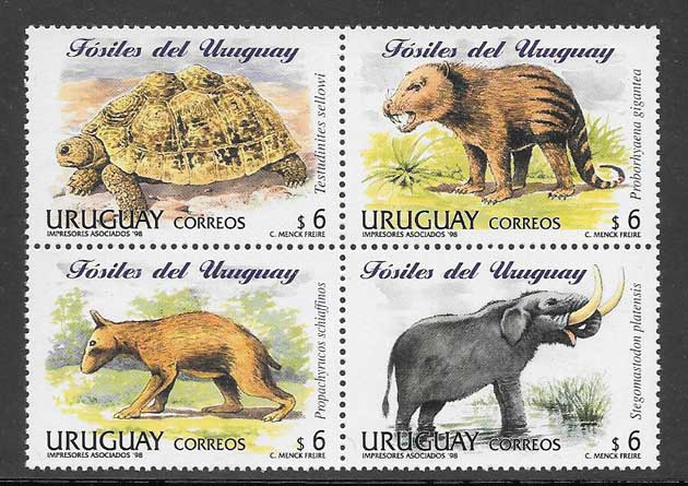 Sellos animales prehistórico Uruguay 1998