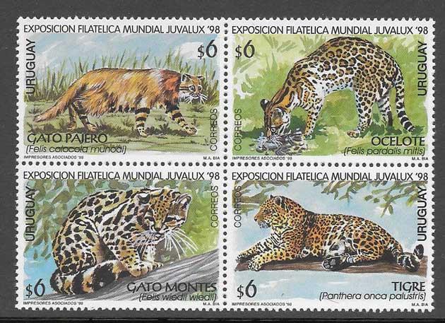 Sellos Filatelia animales felinos 1998