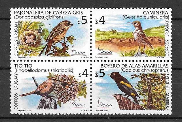Sellos Filatelia aves diversas de Uruguay 2000