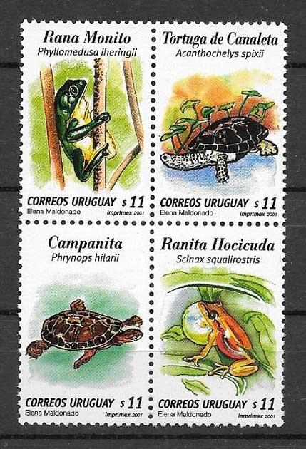 Filatelia sellos tortugas y ranas Uruguay 2001