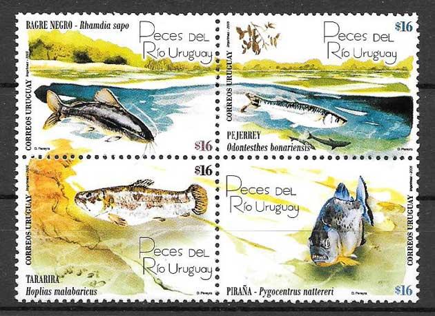Filatelia sellos fauna - peces de rios