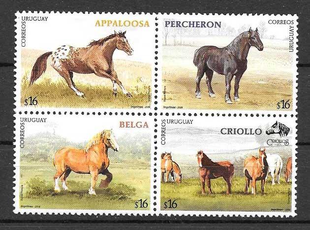 Filatelia sellos fauna caballos de raza