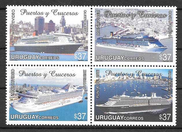 Estampillas puertos y barcos de Uruguay