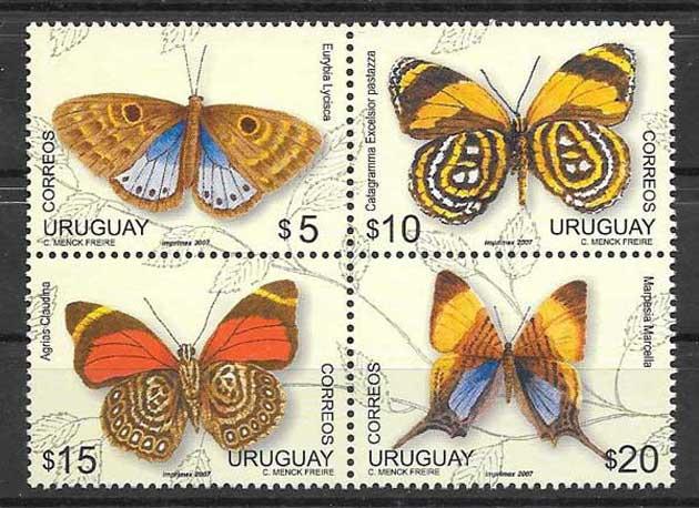 Colección sellos mariposas de Uruguay 2007