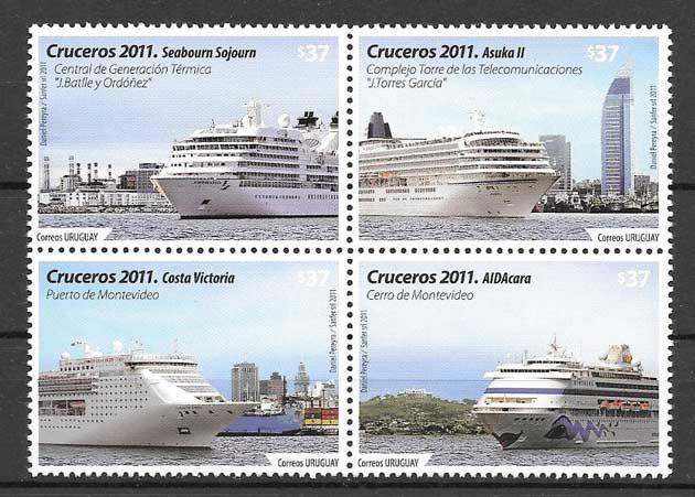Estampillas transporte marítimos - barcos y cruceros