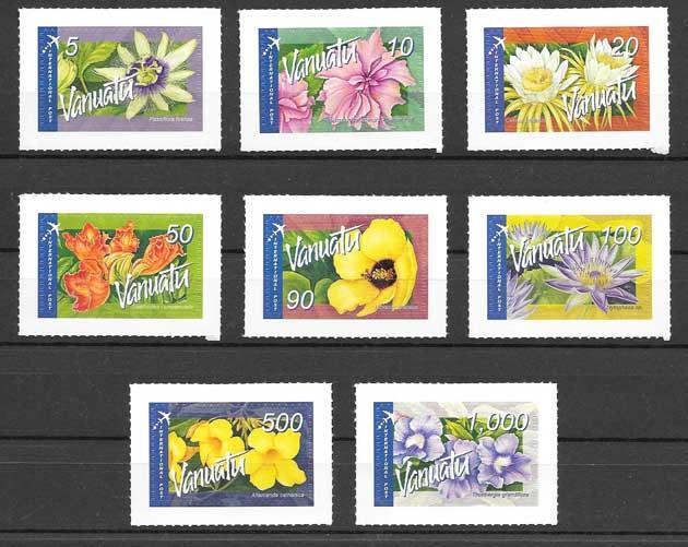 Sellos Filatelia flores diversas de vanatu aéreas