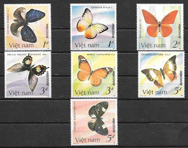 Filatelia mariposas de Viet Nam 1986