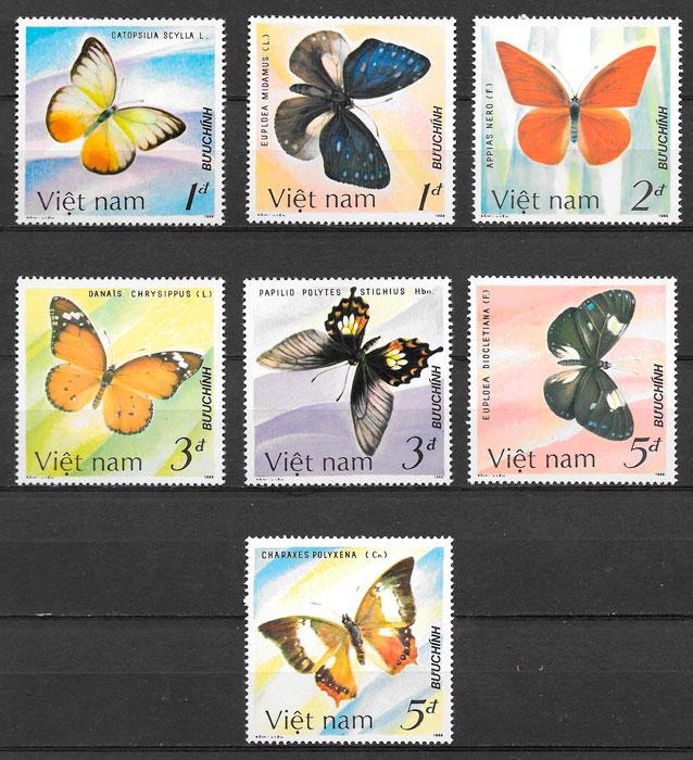 colección sellos mariposas Viet Nam 1986