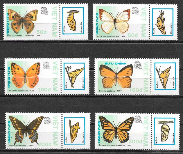 sellos mariposas Viet Nam