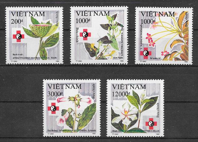 filatelia colección flora Viet Nam 1993