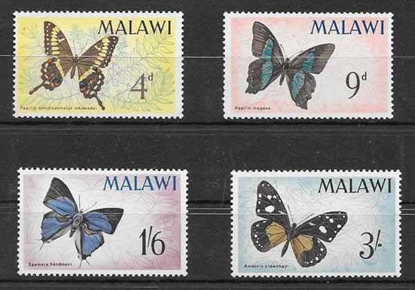 Filatelia mariposas de Malawi 1966