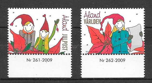 sellos navidad Aland 2009