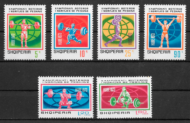 filatelia colección deporte Albania 1973