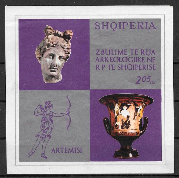 sellos arte Albania 1974