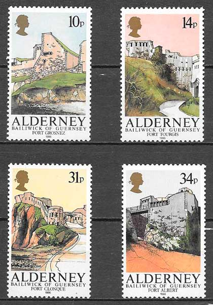 filatelia arquitectura Alderney 1986