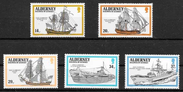 filatelia transporte Alderney 1990