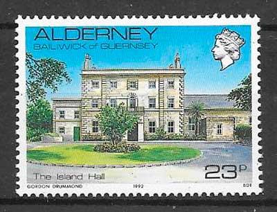 filatelia colección arquitectura Alderney 1992