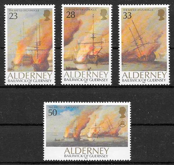 filatelia colección transporte Alderney 1992