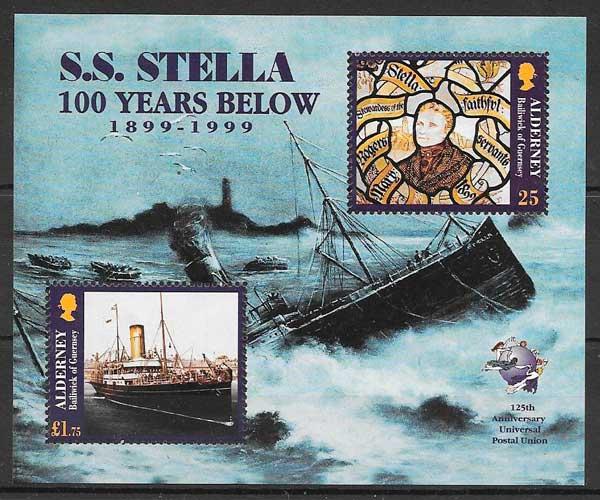 filatelia colección transporte Alderney 1998