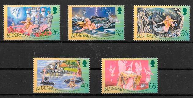 filatelia colección cuentos Alderney 2003