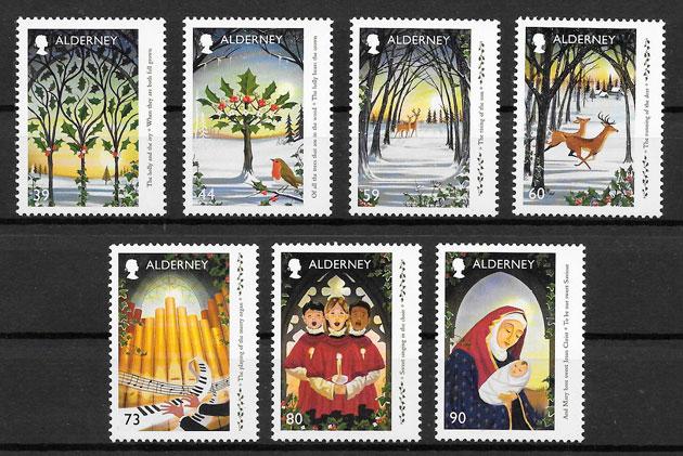 sellos navidad Alderney 2017