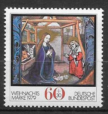 sellos colección navidad Alemania 1979