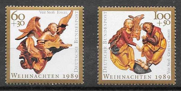 sellos navidad Alemania 1989