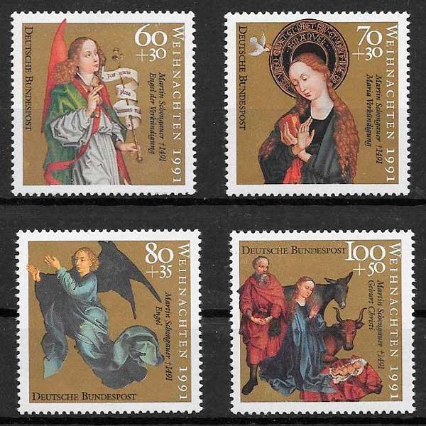 sellos colección navidad Alemania 1991