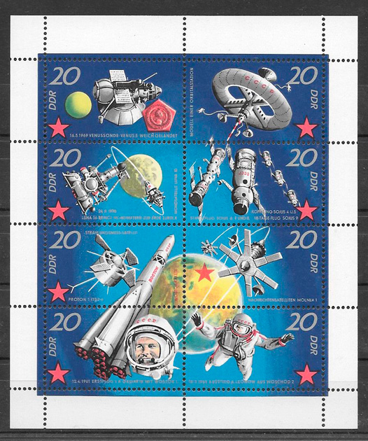 filatelia colección espacio Alemania DDR 1971