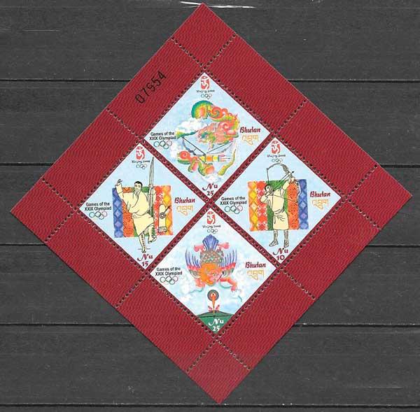 filatelia deporte Bhutan 2008