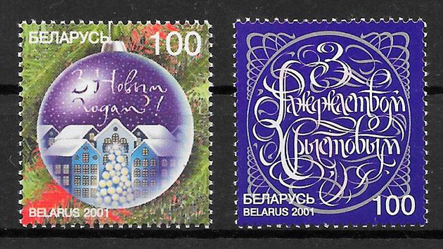 colección sellos navidad Bielorrusia 2001