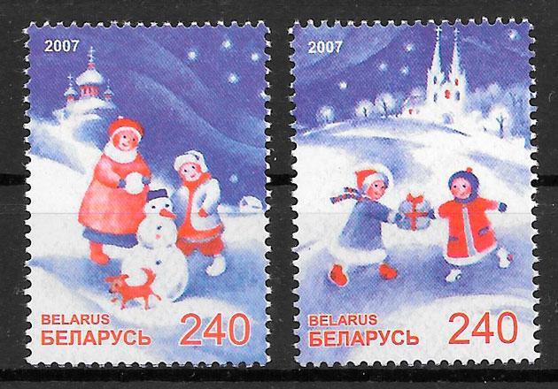 filatelia colección navidad Bielorrusia 2007