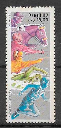 colección sellos deporte Brasil 1987