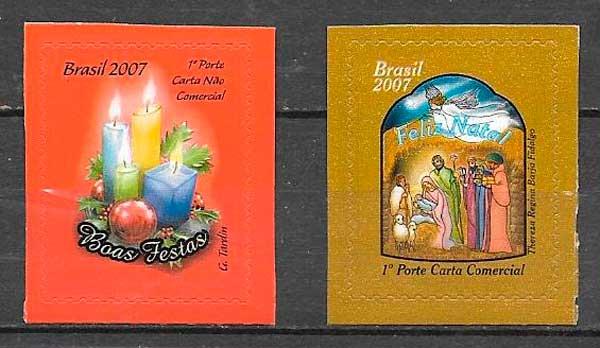 sellos navidad Brasil 2007