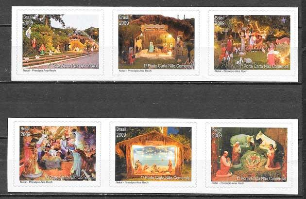 sellos navidad Brasil 2009