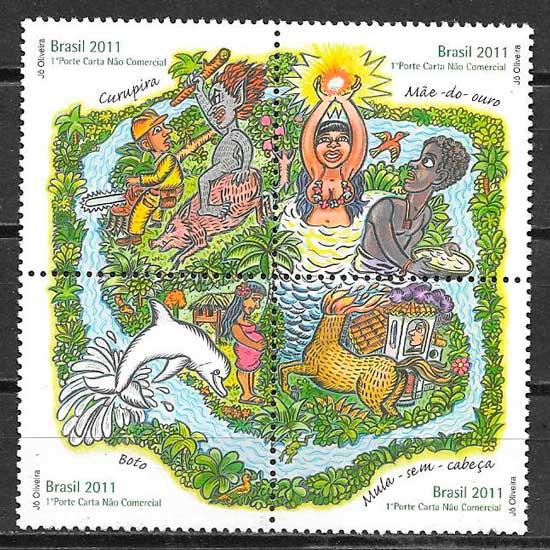 colección sellos cuentos Brasil 2011