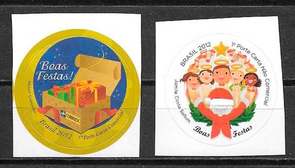 sellos navidad Brasil 2012