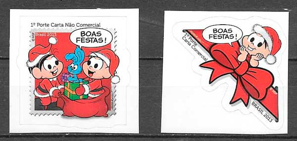colección sellos navidad Brasil 2013