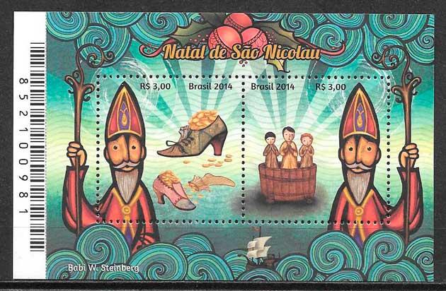 colección sellos navidad Brasil 2014