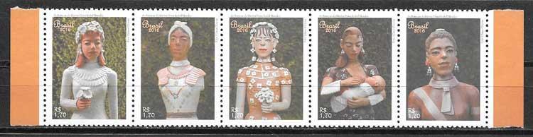 colección sellos arte Brasil 2016