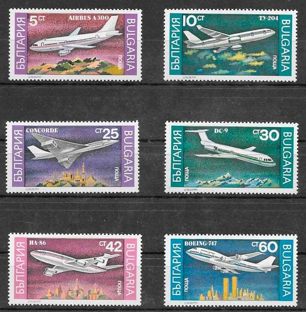 filatelia colección transporte Bulgaria 1990