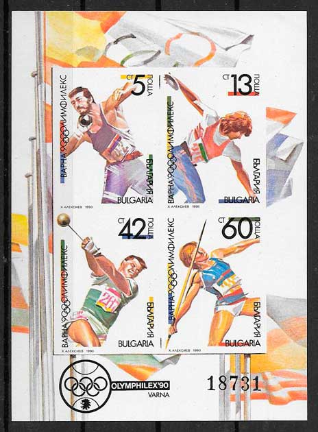 filatelia colección deporte Bulgaria 1990