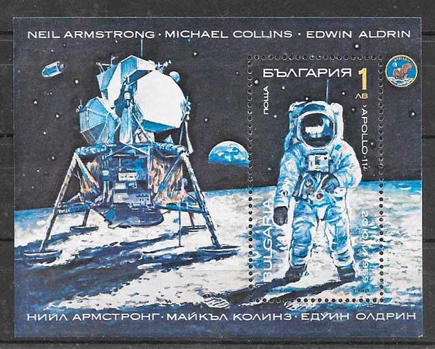 filatelia colección espacio Bulgaria 1990