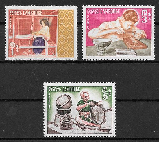 sellos arte Camboya 1965