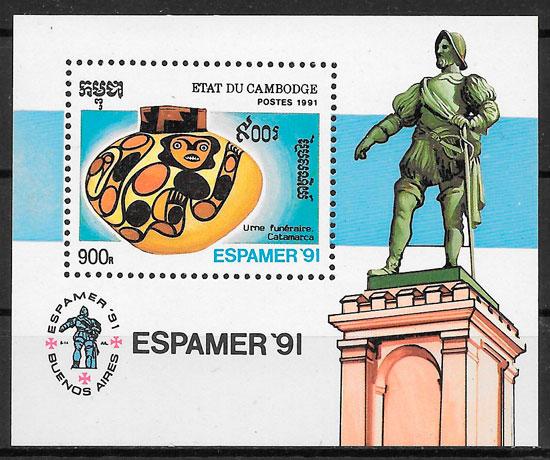 sellos arte Camboya 1991
