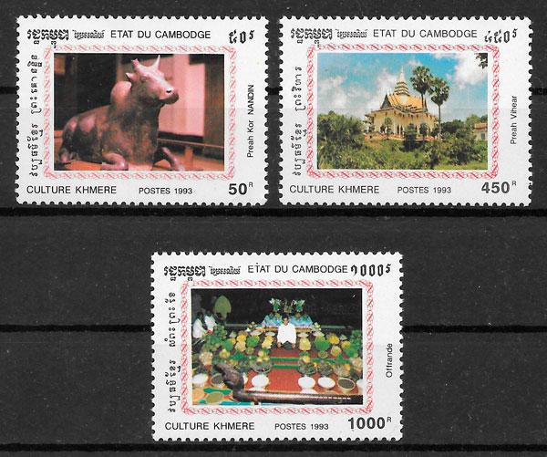 colección sellos arte Camboya 1993