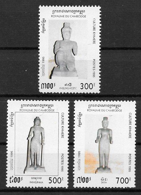 sellos arte Camboya 1995