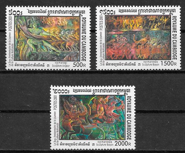filatelia arte Camboya 2001