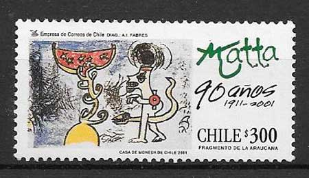 colección sellos arte Chile 2001